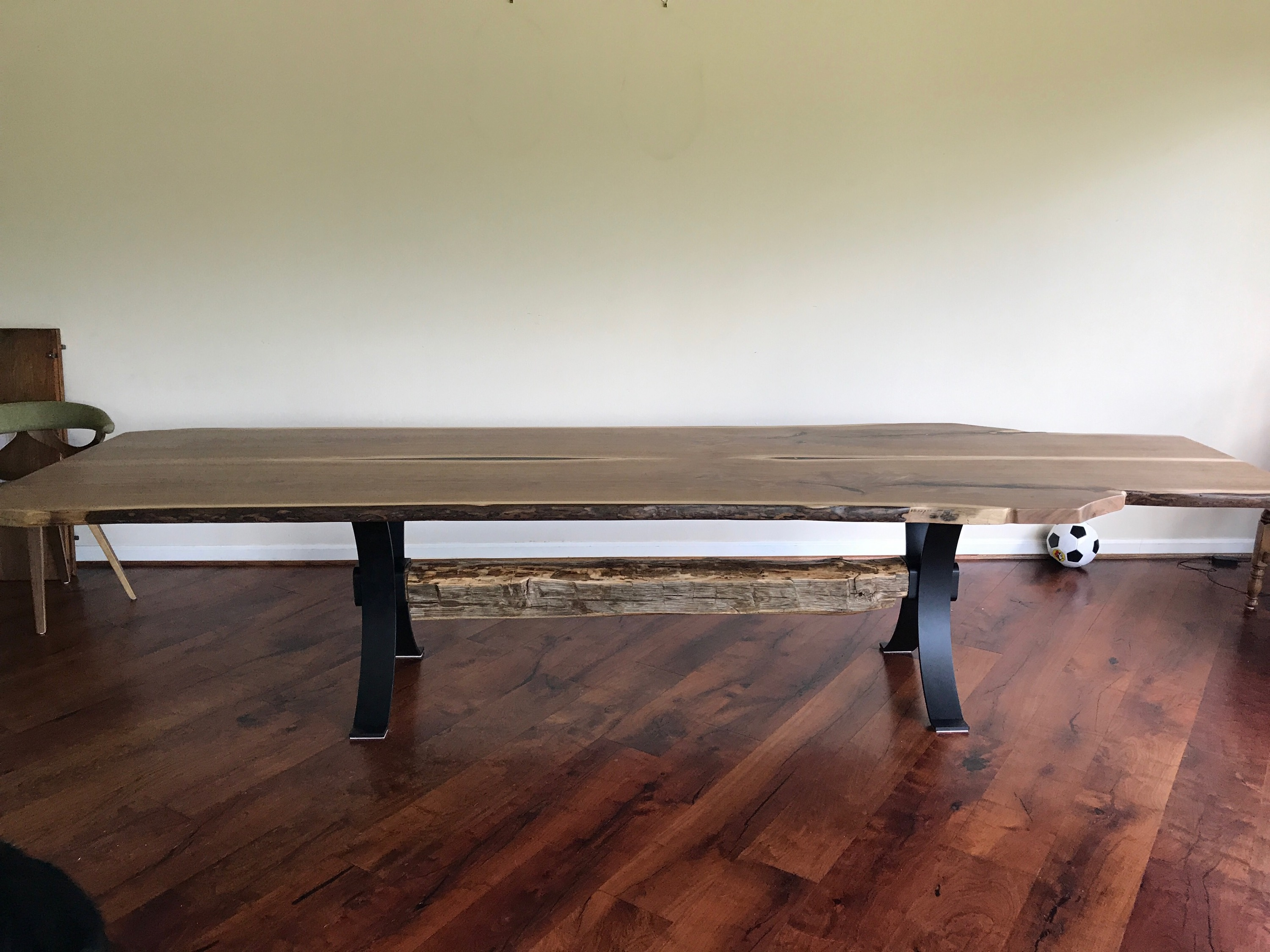 live edge walnut trestle dining table