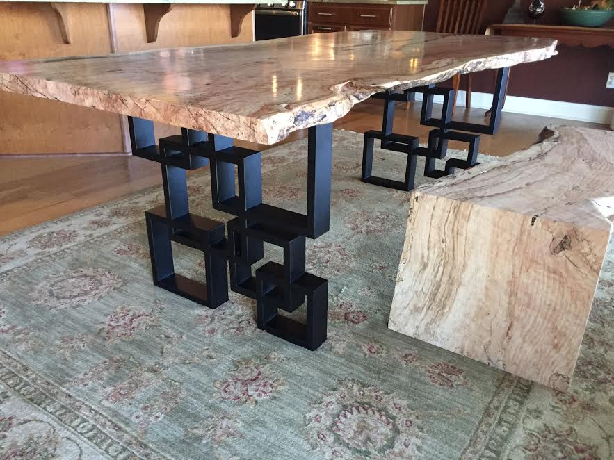 beech dining table with modern steel base