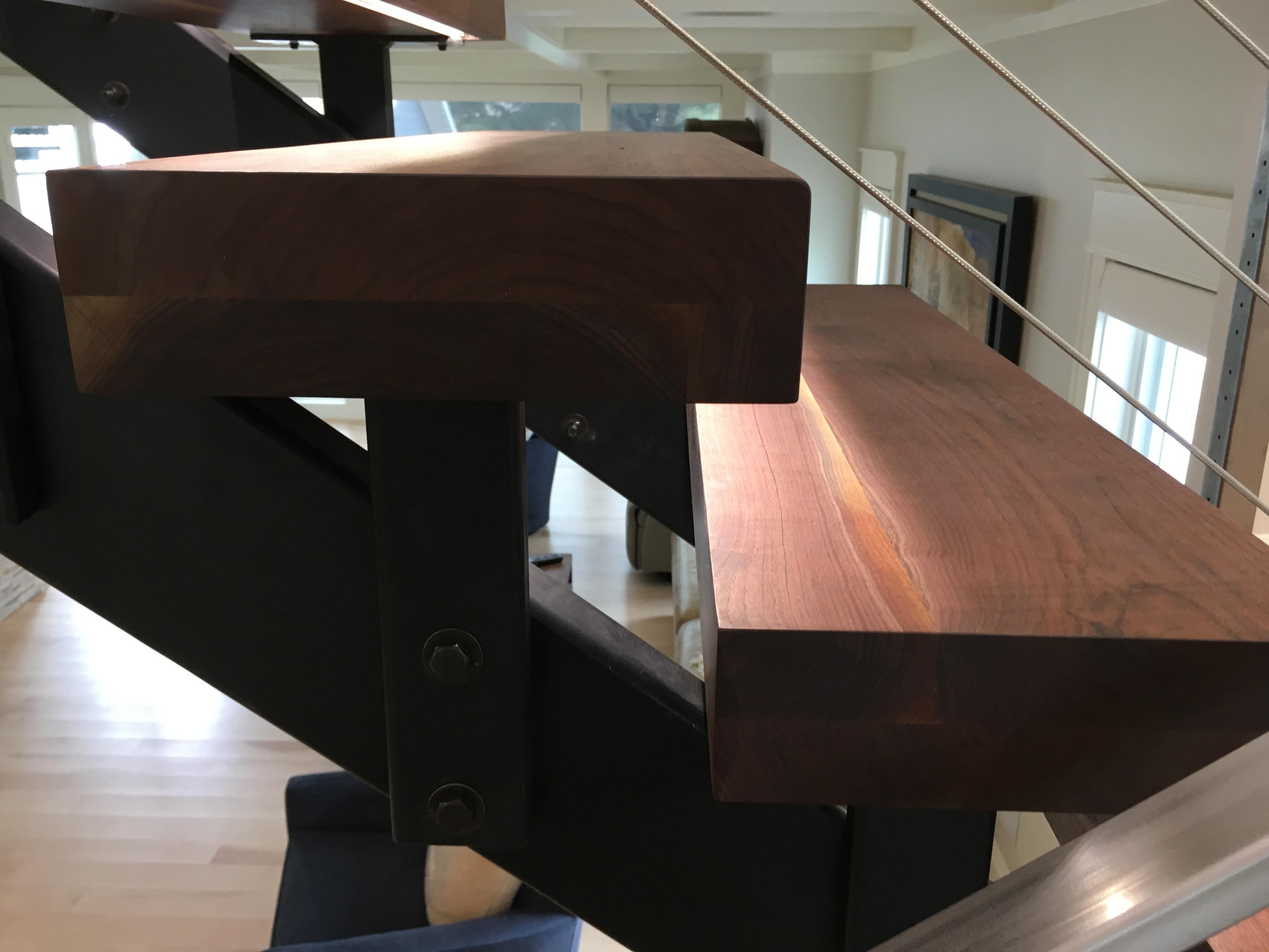 floating walnut stair tread